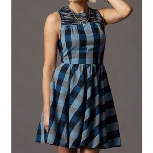 Fossil Madeline Fit & Flare Retro Plaid Dress XS